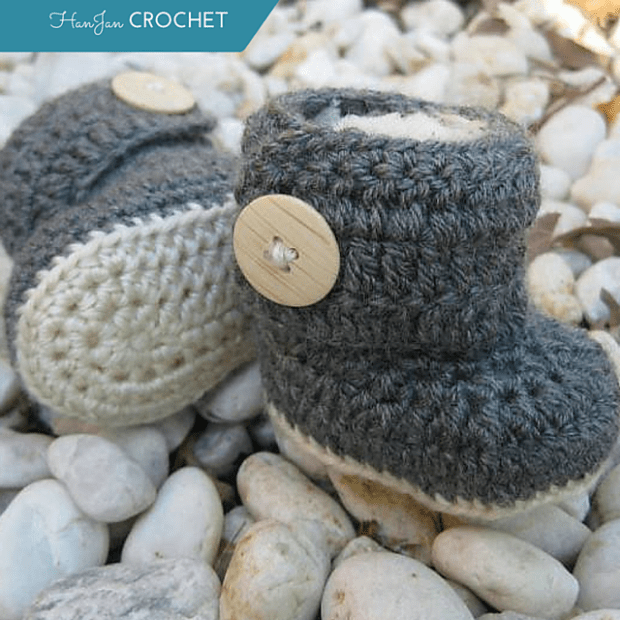 Baby Wrap Around Crochet Button Boots by HanJan Crochet