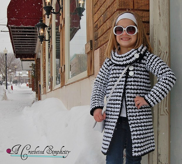 Girls Vintage Houndstooth Jacket by A Crocheted Simplicity