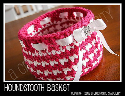 Houndstooth Basket for Easter or Everyday by A Crocheted Simplicity