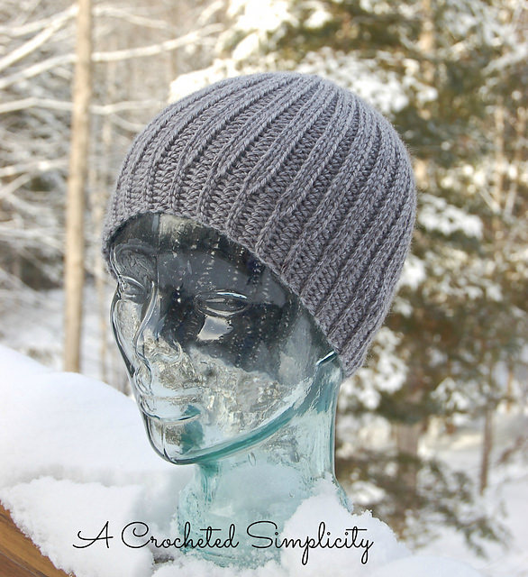 Men's Reversible Knit Look Beanie by A crocheted simplicity