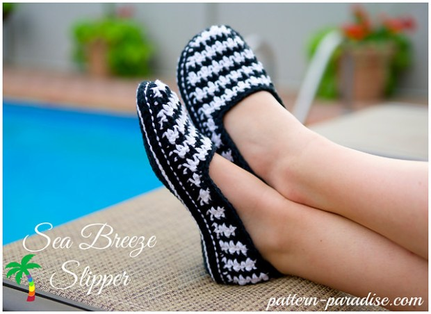 Sea Breeze Houndstooth Slippers by Pattern Paradise