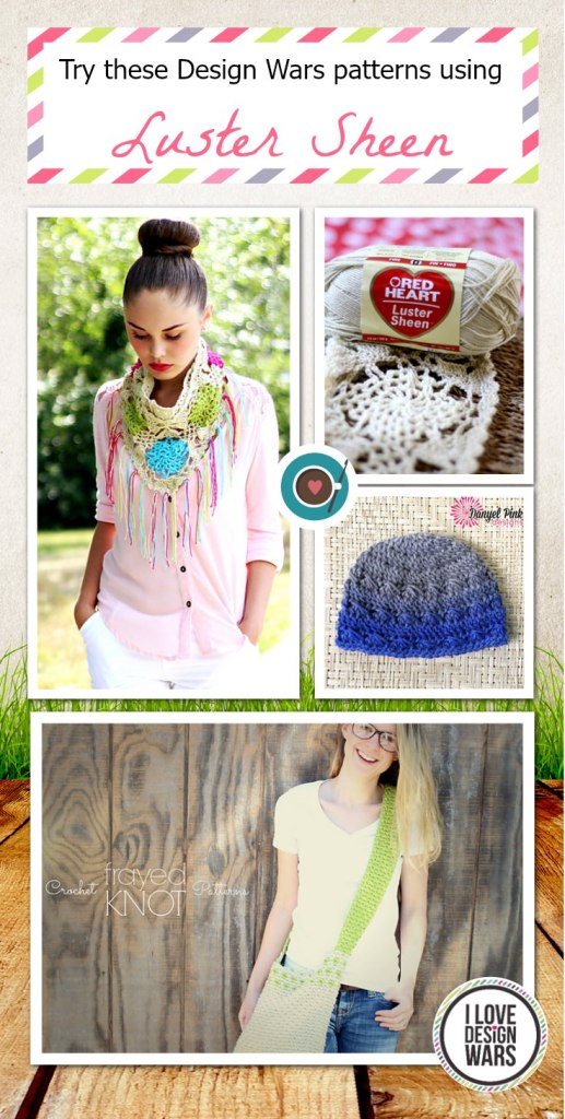 Try these Design Wars patterns using Red Heart Yarn's Luster Sheen (Pinterest)
