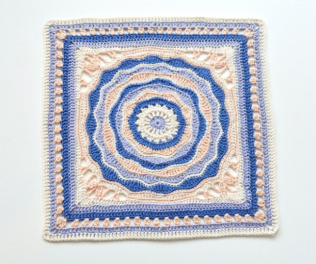 Oceanic Rose 12'' Afghan Square by Lila Bjorn