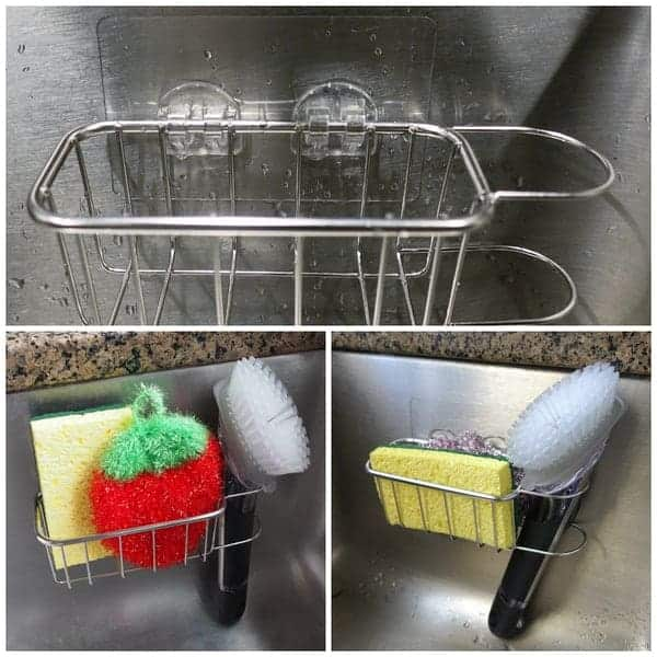 2 in 1 kitchen sink sponge caddy holder for brush and sponges uses strong adhesive no suction cups