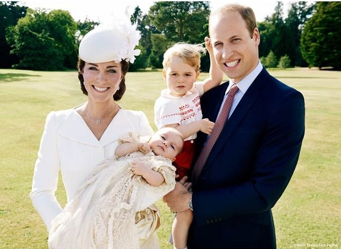 A custom Alexander McQueen dress coat for Princess Charlotte's christening. Mario Testino