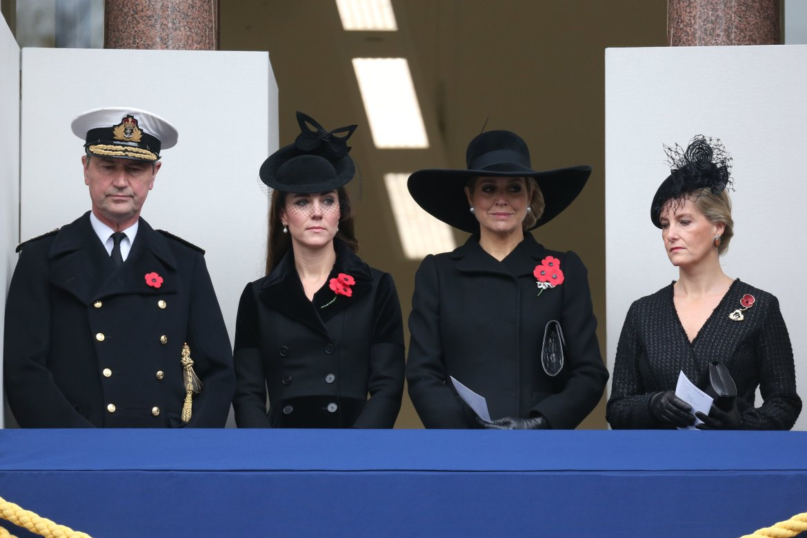 Queen Maxima, the Duchess of Cambridge, Countess of Wessex and Sir Tim Lawrence at the Remembrance Sunday service at The Cenotaph. Picture by Stephen Lock / i-Images