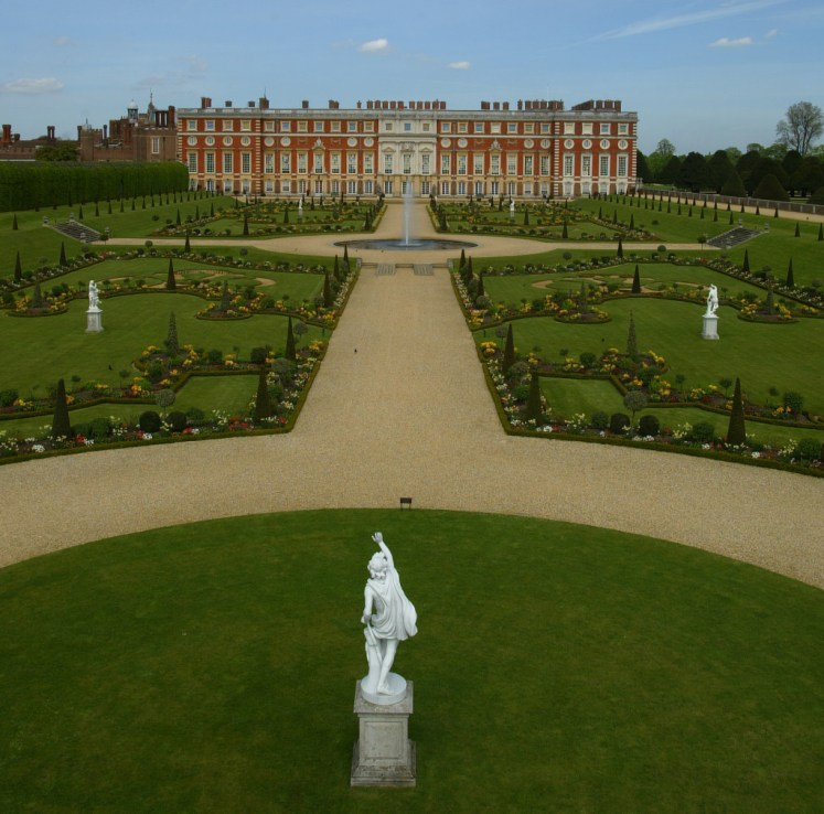 William III's Privy Garden and South facade of Hampton Court Palace  The gardens will house many events at the Palace in 2016.