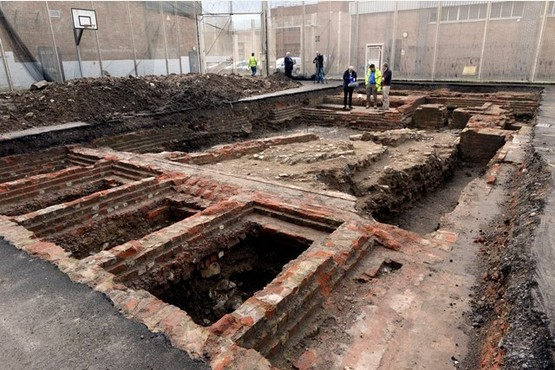 The keep, dating back to 1110, was found underneath the basketball court at Gloucester Prison. Photo by Andrew Higgins