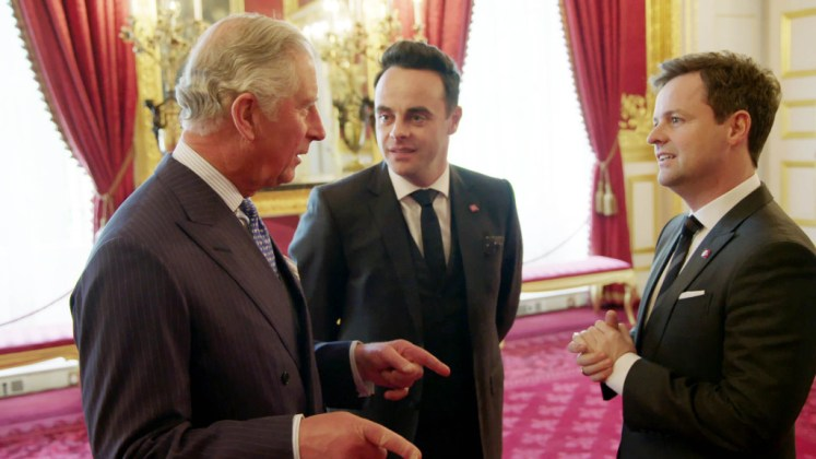 Prince Charles meets Ant and Dec at St James Palace. Ant and Dec got to go behind the scenes with Prince Charles. ITV