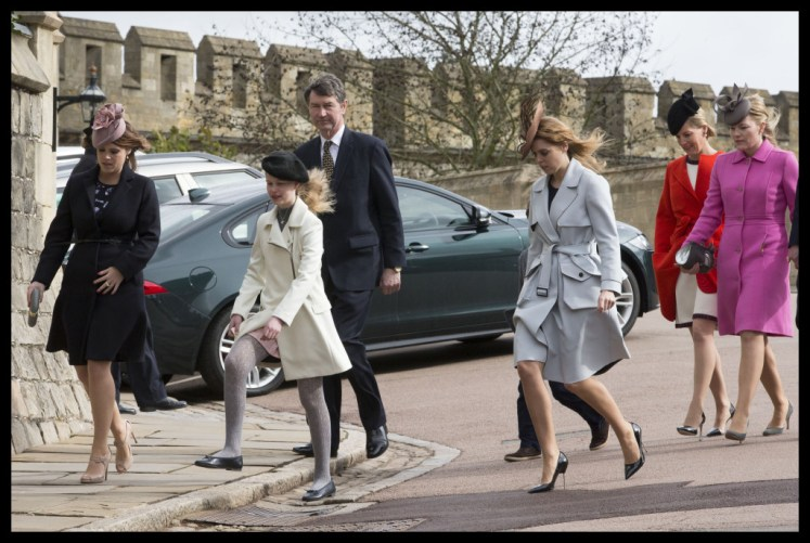 Royals arriving at a wet and windy Easter Sunday church service at St.George's Chapel in Windsor Castle. Picture by Stephen Lock / i-Images