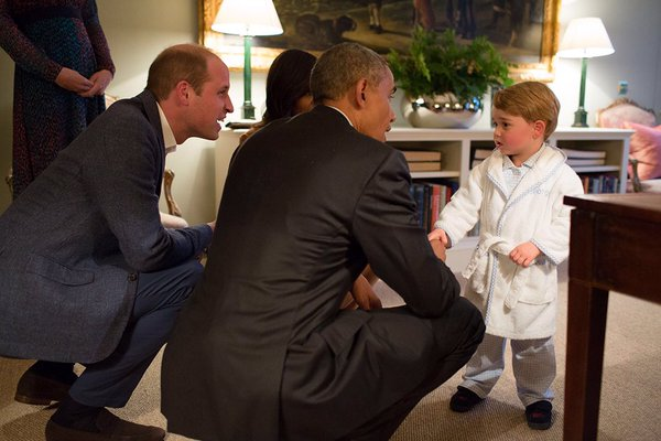Prince George shakes Barack Obama's hand as his parents host the US First Couple for dinner. White House/
