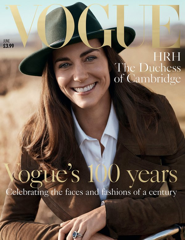 Kate, Duchess of Cambridge appears on the cover of Vogue.