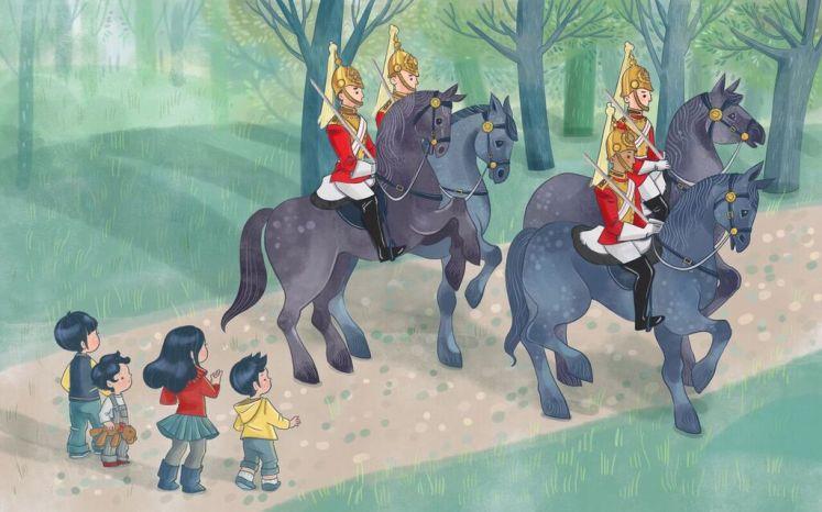 Sam, Sebbie, Di-Di-Di and Xandy chase the Cambridges across London to return the teddy. Epigram