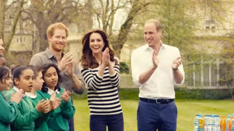 The film shows the trio - Will, Kate and Harry - cheering on runners for the 2017 marathon