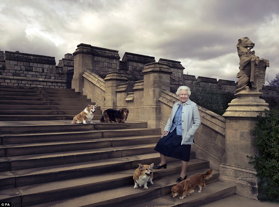 The corgis join The Queen in an official birthday photo