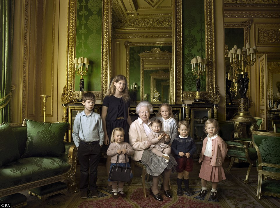 The Queen is joined by her youngest grandchildren and her great-grandchildren in photos by Annie Leibovitz.