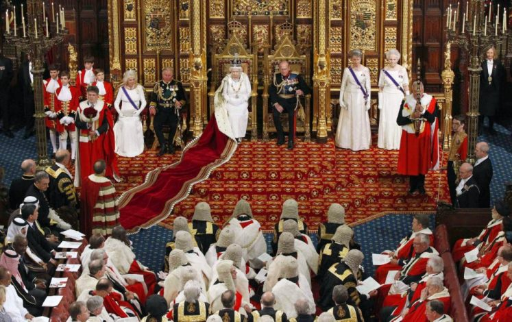 Queen Elizabeth II prepares to deliver her speech in the House of Lords during the State Opening of Parliament. House of Lords/Suzanne Plunkett/PA Wire