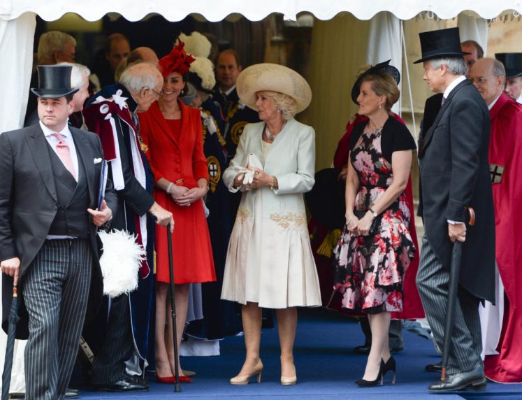 Kate, Duchess of Cambridge,Duchess of Cornwall, Countess of Wessex, talk to Lord Ashburton as they join The Queen and the Duke of Edinburgh for the Order of the Garter service at Windsor Castle. Picture by Andrew Parsons / i-Images