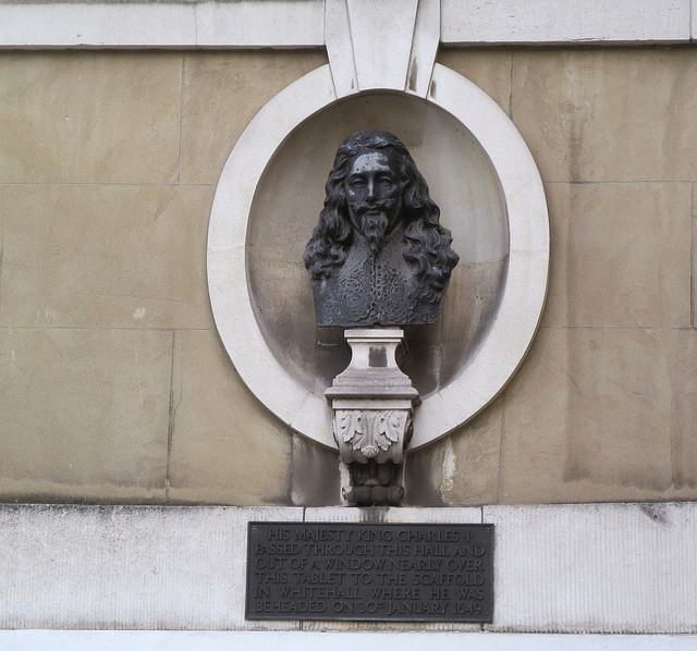 Charles I's bust sits above the entrace to Banqueting House, where he was executed in 1648 (David Holt)