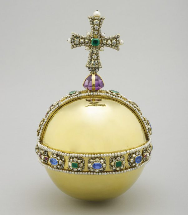 The Sovereign's Orb - part of the Crown Jewels - features hundreds of precious stones and represents God's power on Earth (Royal Collection Trust/© Her Majesty Queen Elizabeth II 2016)