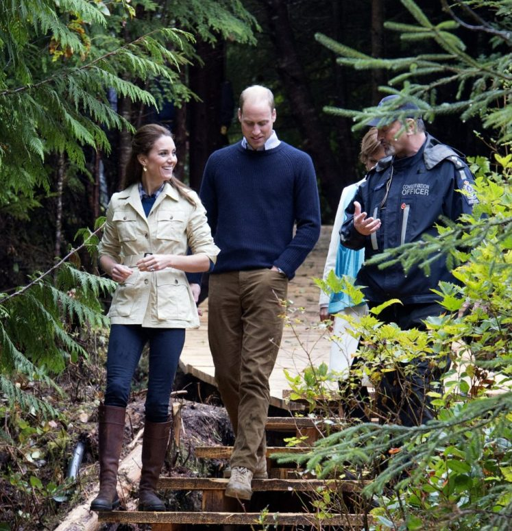 Prince William, the Duke of Cambridge and Catherine, the Duchess of Cambridge, attend the community dedication of the Great Bear Rainforest to the Queen's Commonwealth Canopy. Picture by i-Images / Pool