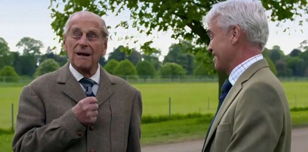 Prince Philip advised Schofield not to open his mouth during the charity wing-walk (ITV)