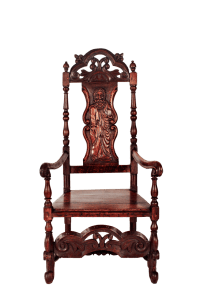 Medieval English Oak Throne / King Chair with Carved Back