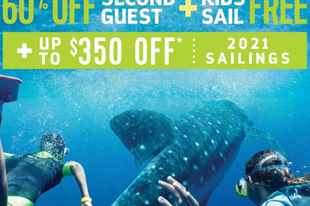 Save up to $350 per person and 60% off 2nd Guest for Royal Caribbean