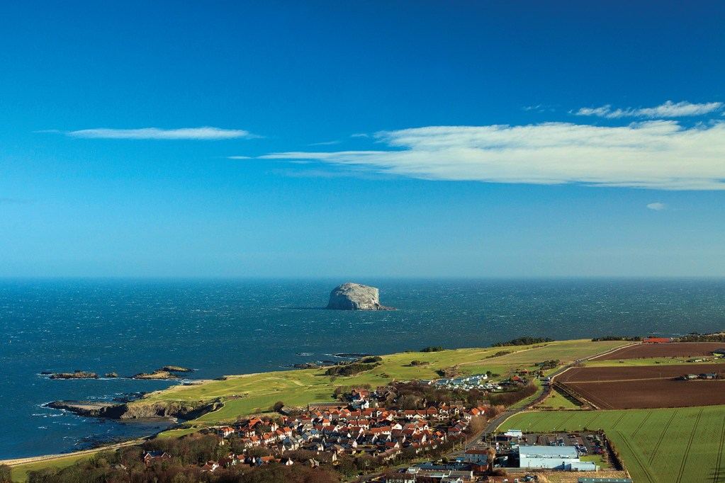 Bass Rock, North Berwick and the North Sea from North Berwick Law, East Lothian