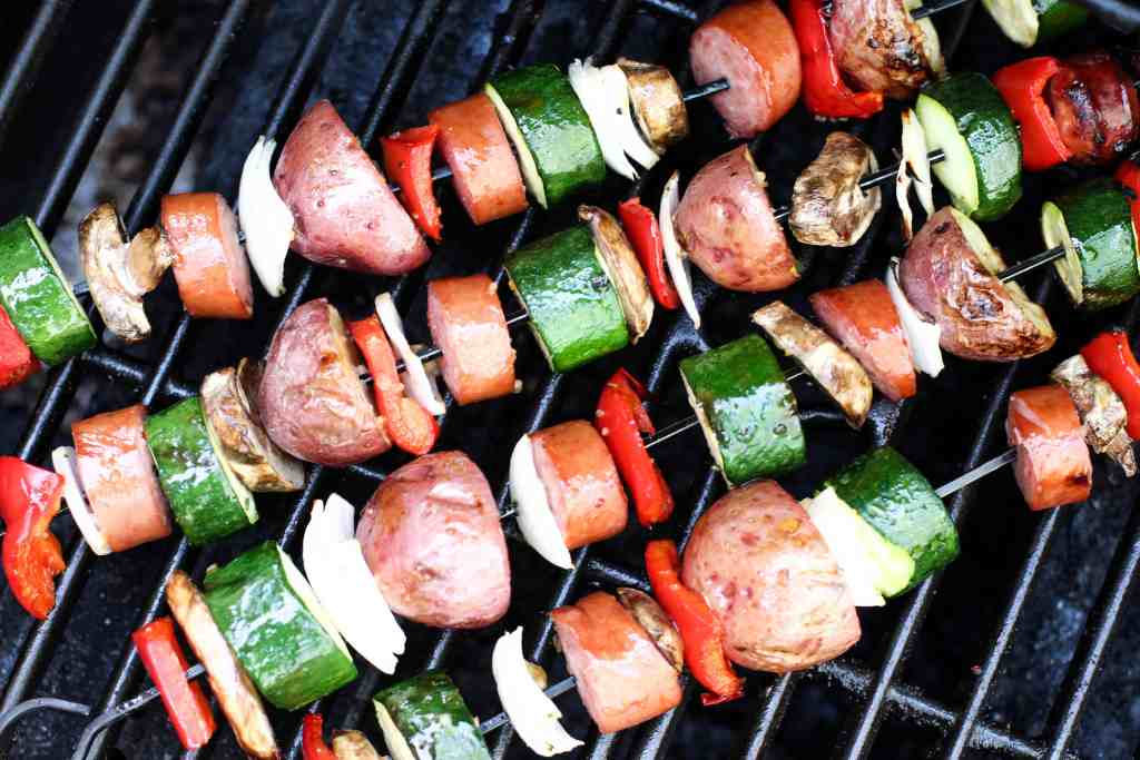 Grilled Kielbasa and Veggie Kabob 4