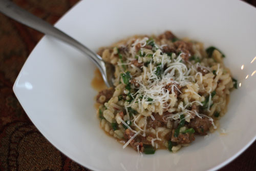 ramp & sausage risotto