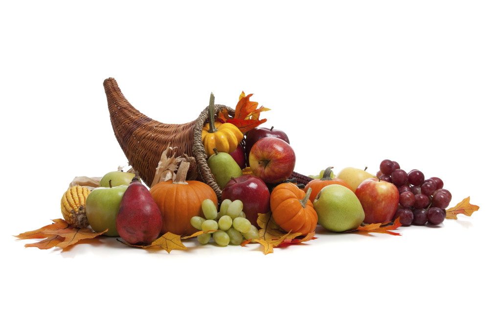 Vintage Happy Thanksgiving Cornucopia