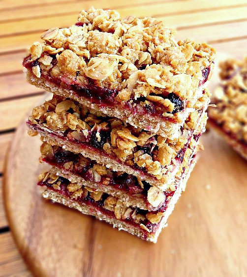Healthier Oat and Jam Slices with Homemade Jam