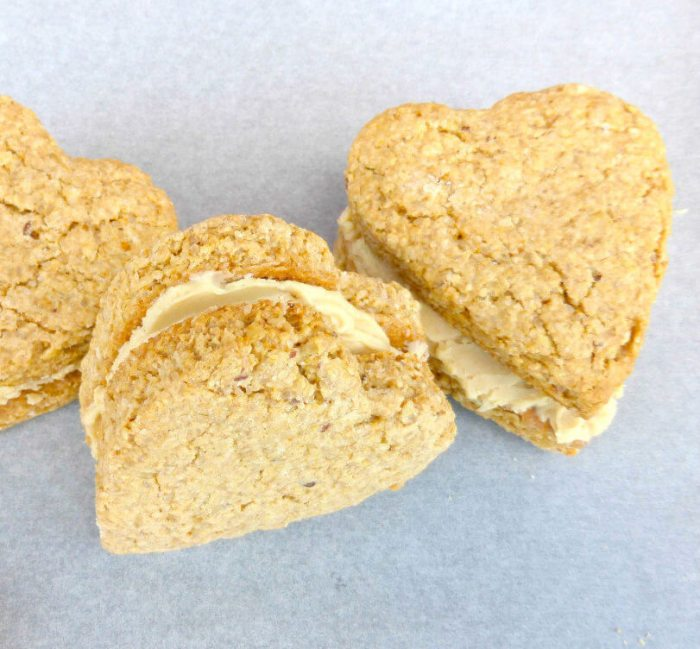 Gluten Free Oat Cookie Sandwiches (White Chocolate and Peanut Butter Filling)