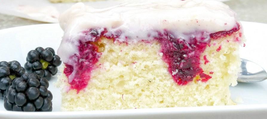 Fresh Blackberry and White Chocolate Poke Cake