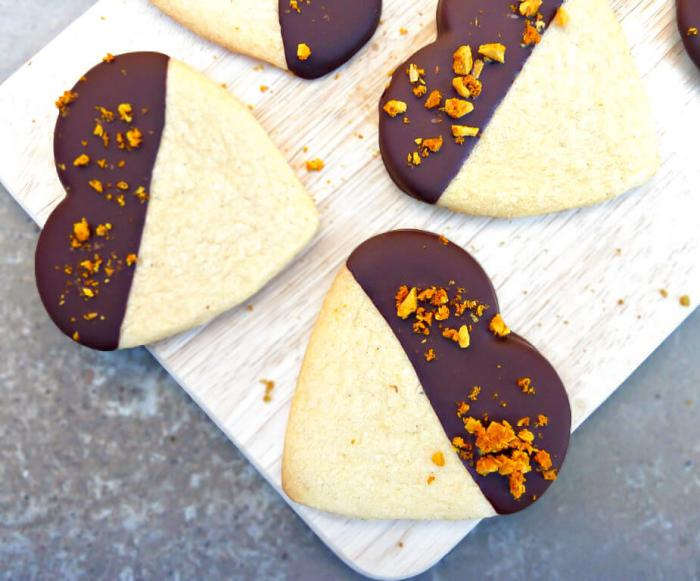 Ginger Spiced Butter Cookies Dipped in Dark Chocolate