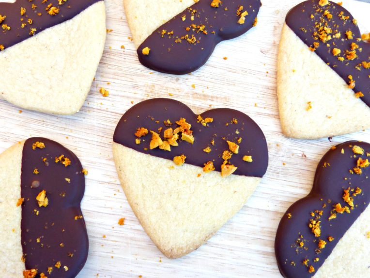 Spiced Butter Cookies Dipped in Dark Chocolate