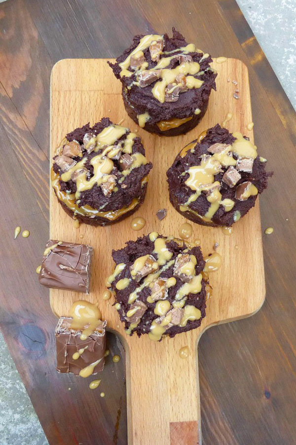 Caramel Mars Bar Brownie Cakes with Chocolate Cream Cheese Frosting
