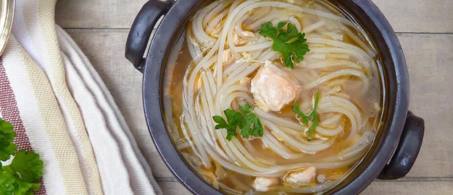 Salmon Teriyaki Noodle Soup