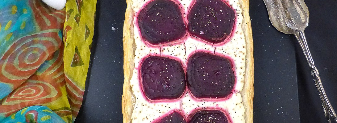 Beetroot and Black Pepper Puff Pastry with Greek Yoghurt and Cream Cheese