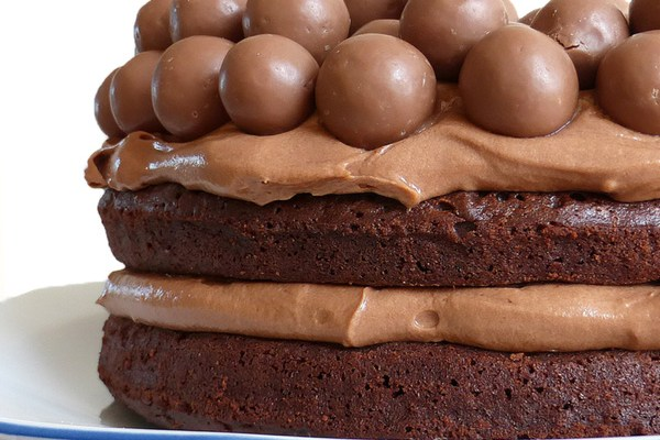 Nutella Brownie Cake with a Nutella Cream Cheese Frosting (topped off with Maltesers)