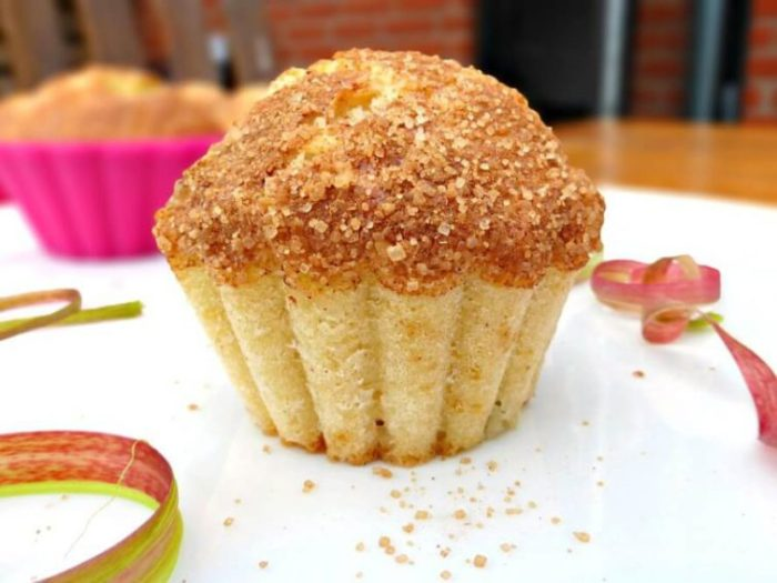 Fresh Rhubarb Muffins with a Brown Sugar Sprinkle