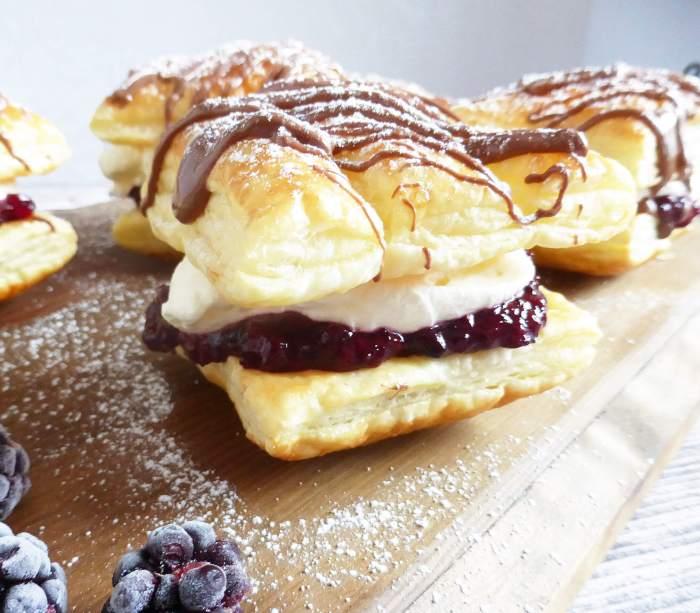 Blackberry and Cream Puff Pastries