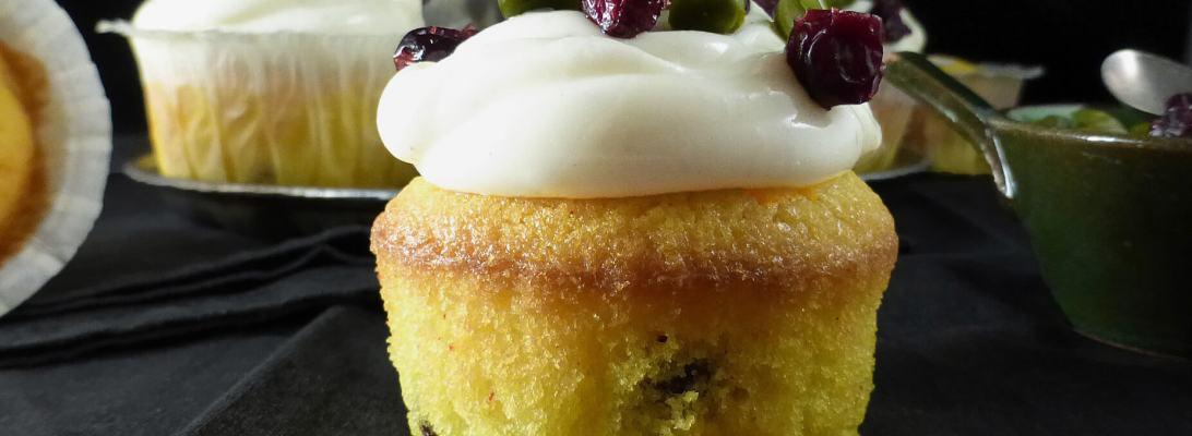 Saffron & Cranberry Cupcakes with Vanilla Cream Cheese Frosting (gluten free)