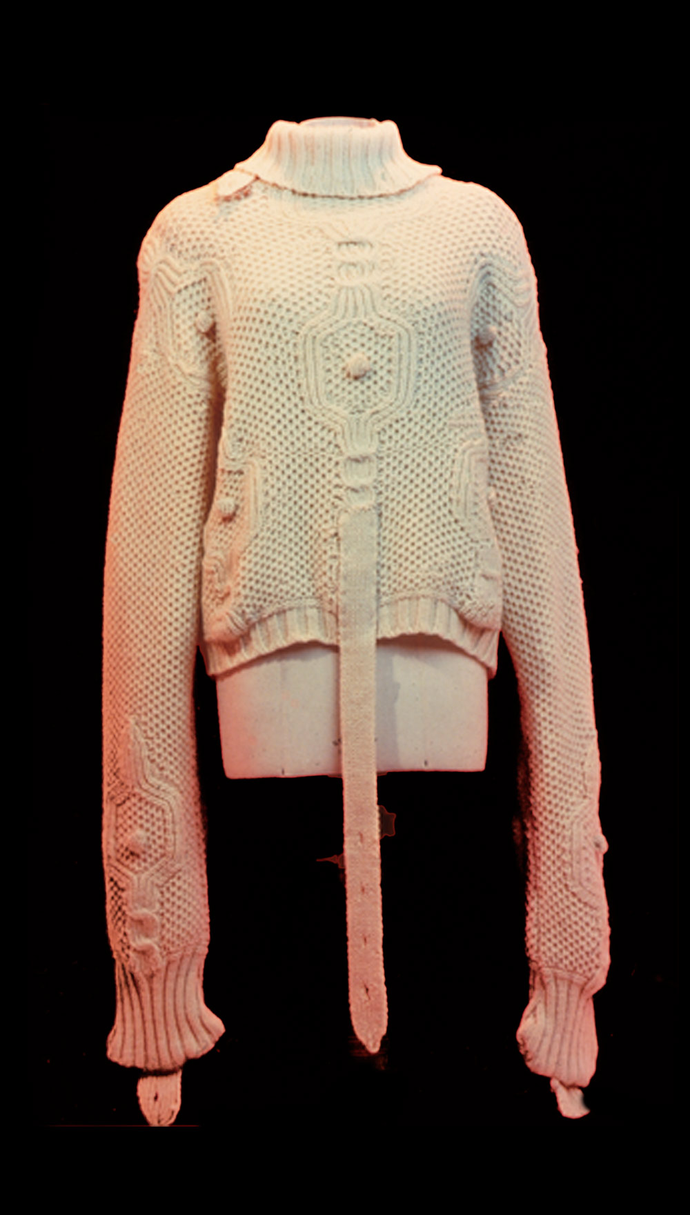 'Nobody Told Me (There Would Be Days Like These)' Hand knitted Arran wool straight jacket 1995.