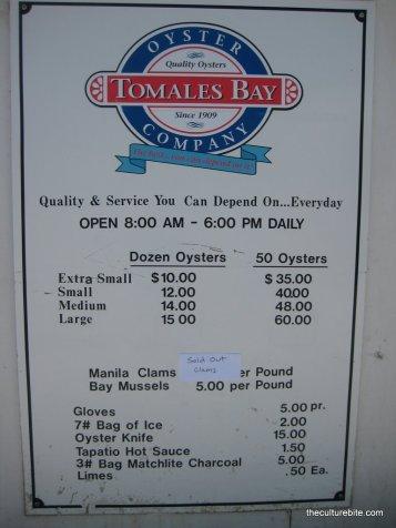 Tomales Bay Oyster Menu