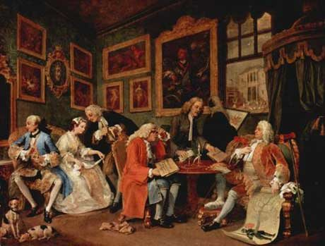 Marriage à-la-mode by William Hogarth,  pointed skewering of upper class 18th century society. This moralistic warning shows the disastrous results of an ill-considered marriage for money and satirizes patronage and aesthetics.
