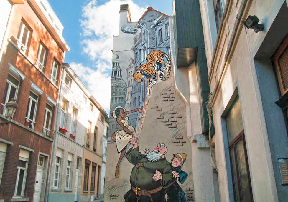 Odilon Verjus wall - comic strip wall murals in Brussels