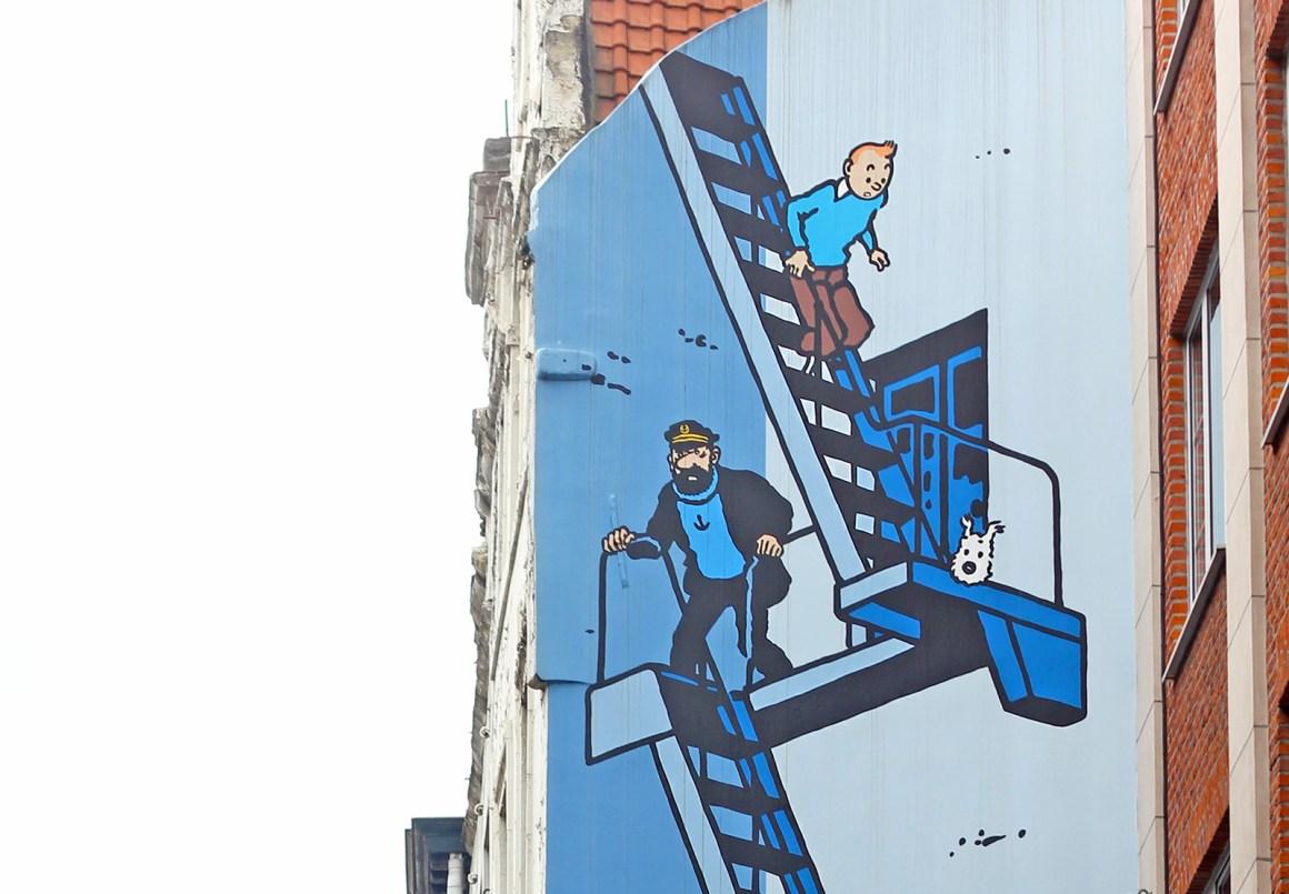 Tintin street art / comic mural in Brussels