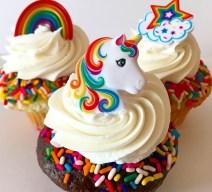 enchanted unicorn and rainbow cupcakes